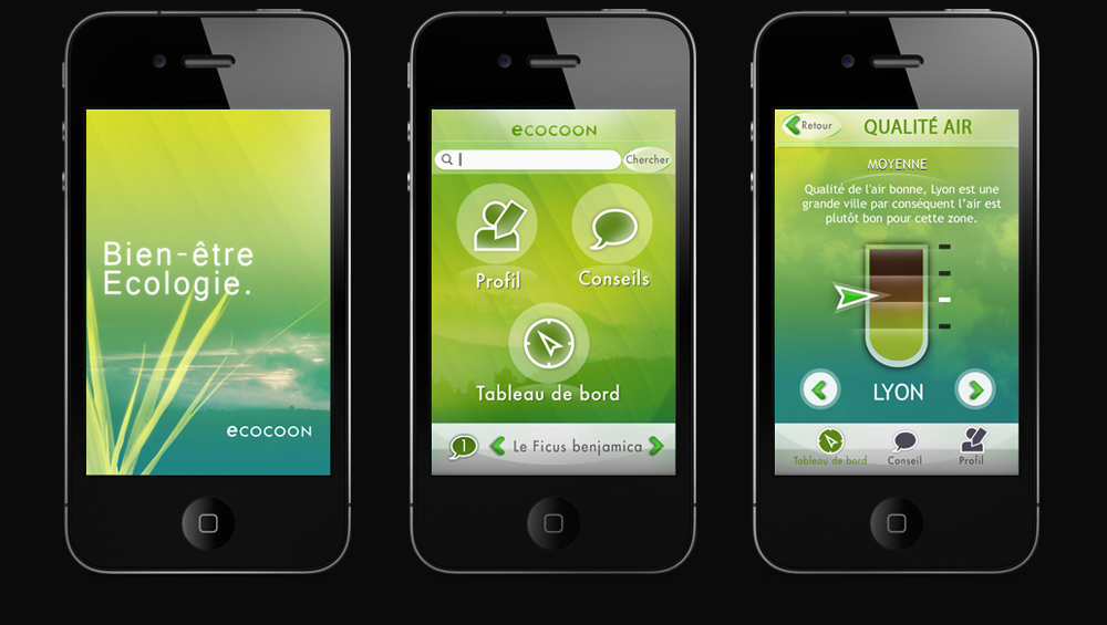 UX Design d'interface, Ecocoon Appli Iphone, Hervé Augoyat